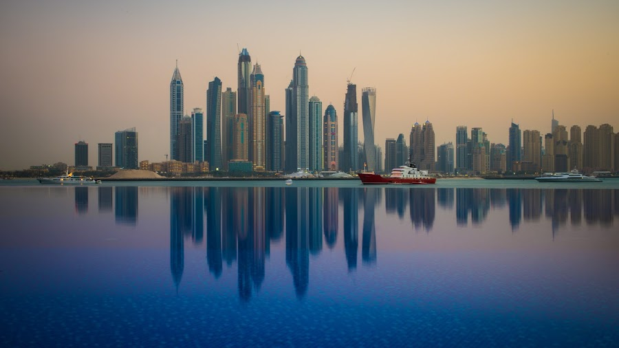 Dubai Marina by Marcin Frąckiewicz - City,  Street & Park  Skylines ( mirrored reflections, pool, dubai, sunset )
