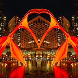 Flamingo Heart by Arturo Gonzalez - Buildings & Architecture Architectural Detail ( sculpture, flamingo, cityscape, architecture, chicago, downtown,  )