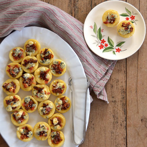 Polenta Bites With Bacon, Dates, and Blue Cheese