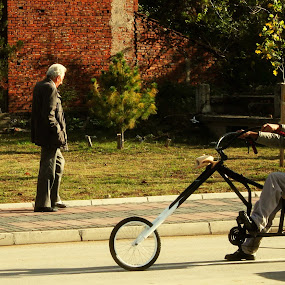 choper by Aleksandar Z Dimitrijević - City,  Street & Park  Street Scenes ( street, choper, old man, gipsy, bicycle )
