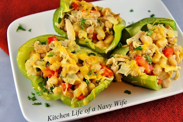 Chicken and White Bean Stuffed Peppers
