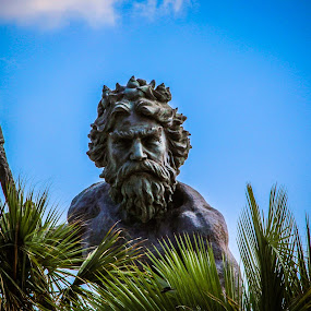 King Neptune by Christine Weaver-Cimala - City,  Street & Park  City Parks ( hilton, bronze, landmark, sculpture, park, neptune, virginia, ocean, atlantic, king )