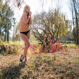 Natural beauty by Jason Elphick - Nudes & Boudoir Artistic Nude ( pose, blonde, nude, nature, outdoors, meadow, trees, implied, landscape, outside )