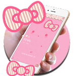 Cute kitty pink bow theme Icon
