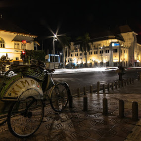 Becak at night by GilaMoto GilaMoto - City,  Street & Park  Street Scenes