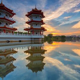 Evening Skyline by Lb Chong Jacobs - City,  Street & Park  Skylines