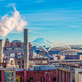 City View by Brad Larsen - City,  Street & Park  Skylines ( building, mountain, smoke stack, cityscape, city )