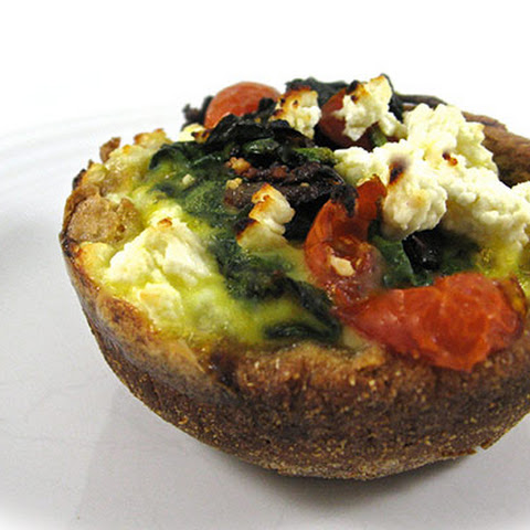 Skinny Eggs, Spinach and Tomato in English Muffin Cups