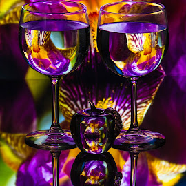 by Lisa Hendrix - Artistic Objects Other Objects ( water, reflection, purple, color, apple, artistic, yellow, wine glasses )