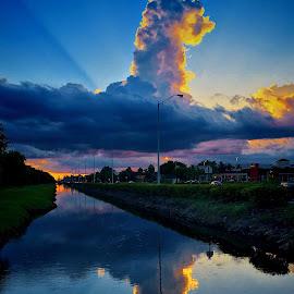 Dragon en el cielo by Luis Hernandez - City,  Street & Park  Vistas ( color, cielo, nubes, city )