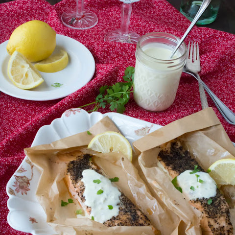 Salmon with Garlicky Black Pepper and Egg Free Lemon Aioli