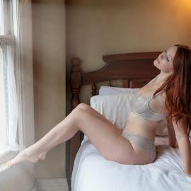 by Xavier Wiechers - Nudes & Boudoir Boudoir ( pillow, peaceful, bed, one, romantic, indoors, relaxation, bedroom, portrait, glamour, lingerie, window, gorgeous, woman, seductive )
