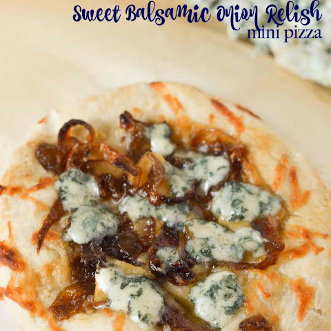 Blue Cheese Apple and Sweet Balsamic Onion Relish Mini Pizza