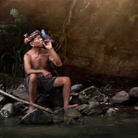 ~~~ Relax ~~~ by Jeerasak Chaisongmuang - People Portraits of Men ( fisherman river thailand rock )