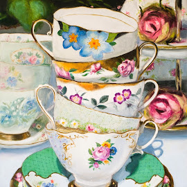 Cups & roses by Jocelyne Maucotel - Painting All Painting ( cups, still life, painting )