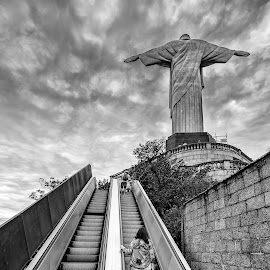 Stairwais to redemption by Loris Calzolari - Black & White Street & Candid ( brazil, rio de janeiro, christ the redeemer, corcovado, escalator )