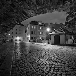 Čertovka by Tomáš Culka - Black & White Buildings & Architecture ( lights, lamps, houses, street, nights )