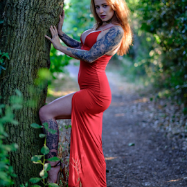 by Paul Phull - People Portraits of Women ( sexy, tattoos, red dress, tree, portrait, park )