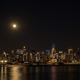 The View from Weehawken by Judy Florio - City,  Street & Park  Skylines ( moon, skyline, night, manhattan, weehawken, cityscape, nj, ny, hudson river, city )