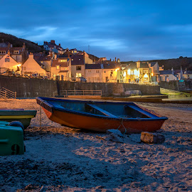 Staithes Beach by Darrell Evans - Transportation Boats ( harbour, yorkshire, hamlet, old, harbor, cottages, building, outdoor, seaside, staithes, cleveland way, uk, bay, village, coastal, architecture, picturesque )