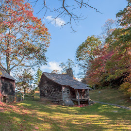 Autumn Cabin by Timothy Bell - Buildings & Architecture Public & Historical ( cabin, autumn, fall, log cabin )