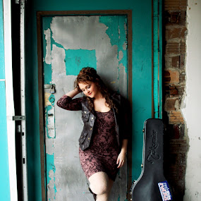 corey by Autumn Horton - People Musicians & Entertainers ( music, girl, blue, dress, door, legs, musician, guitar, teal, tights, smile, floral )