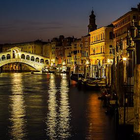 Rialto Reflects by Gary Beresford - City,  Street & Park  Vistas ( rialto, reflection, venice, bridge, canal, italy )