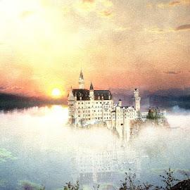 The Forgotten Kingdom by Bjørn Borge-Lunde - Digital Art Places ( fantasy, nature, sunset, castillo, lake, castle, skies )