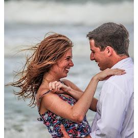 Seaside Romance by Prentiss Findlay - People Couples ( ocean romance, seaside romance, love at the beach, surf love, beach romance )