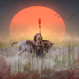 War Chief by Kathy Suttles - Digital Art People ( war chief, native, comanche, sunset, fall )