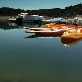 kayaks by Francisco Cardoso - Transportation Boats ( mirror, water, orange, green, reflections, lake, kayak )