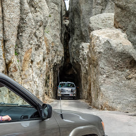 one way in and one way out. by Mary Stewart - Landscapes Caves & Formations ( 2014, road trip, south dakota, eye of the needle. wait your turn,  )
