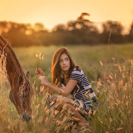 Connection  by Lis Bet Plh - Uncategorized All Uncategorized ( girl, sunset, beautiful, horse, beauty in nature, landscape )