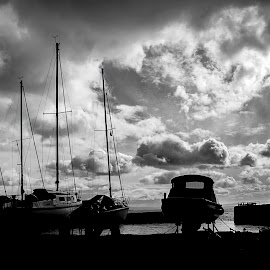 Harbour Boating by Jaqueline Nicholsn - Transportation Boats ( water, black and white, harbour, boats, cloudscape )