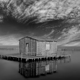 Lagoon  I by Babis Mavrommatis - Black & White Buildings & Architecture ( waterscape, black and white, water, lagoon, sea )
