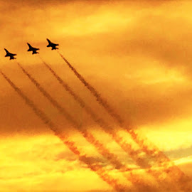 Flying at Sunset by Diane Garcia - Transportation Airplanes ( airplanes, sunset )