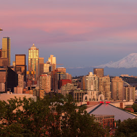 Seattle Solstice Skyline by Briand Sanderson - City,  Street & Park  Skylines ( skyline, pano, seattle, skyscrapers, mt. rainier, cityscape, panorama, panoramic )