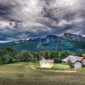 Old farm in the mountens by Janne Monsen - Landscapes Mountains & Hills ( farm, sky, mountain, waterfall, hemsedal, norway )