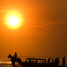 Riding over sunset by Jenni Ertanto - Landscapes Sunsets & Sunrises ( nature, sunset, horse, beach, landscape )