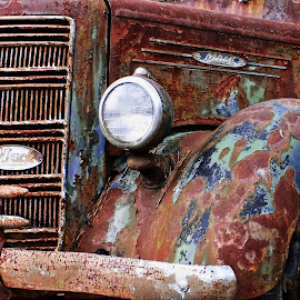 Mack Truck out of Luck by Jeffrey Lorber - Transportation Automobiles ( old car city, truck detail, 1940's, mck truck, carphotoz, lorberphoto, rusted truck, lorber, rust, jeffrey lorber )