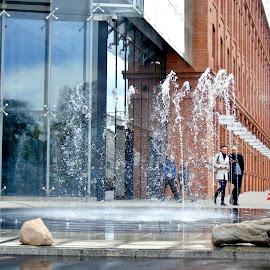 MODERN FOUNTAIN by Wojtylak Maria - City,  Street & Park  Fountains ( center, modern, fountain, town, architecture )