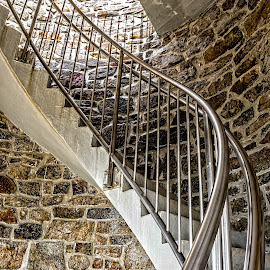 Winding Staircase by Richard Michael Lingo - Buildings & Architecture Architectural Detail ( detail, staircase, building, architecture, mount battie )