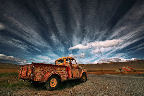 Old Truck by Þorsteinn H. Ingibergsson - Transportation Automobiles ( clouds, iceland, sky, truck, structor, landscape, abandoned )