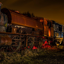 A night amongst the relics 2 by Dave Thompson - Transportation Trains ( night photography, trains )