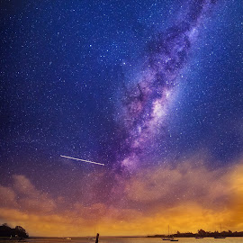 The Story of a boat on a beach ..  by Anupam Hatui - Landscapes Starscapes ( astrophotography, boat, landscape, new zealand, starscape )