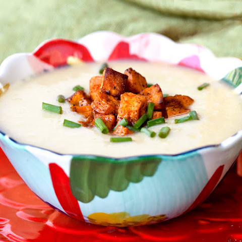 Hearts of Palm Soup with Sweet Potato Croutons