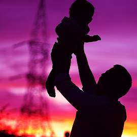 My Papa....Strongest <3 by Prady Das - People Family ( fatherson, happiness, bonding, sunset, silhouette, family, father&son, colors,  )