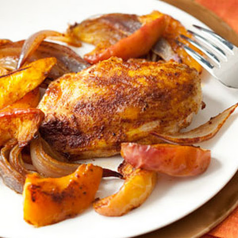 Spiced Chicken Breasts, Squash and Apples
