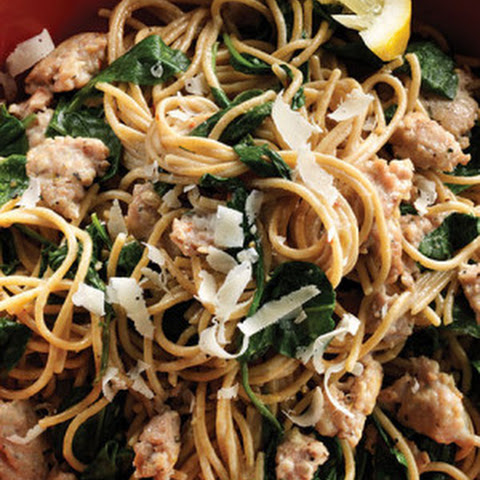 Lemon Spaghetti with Turkey Sausage & Spinach