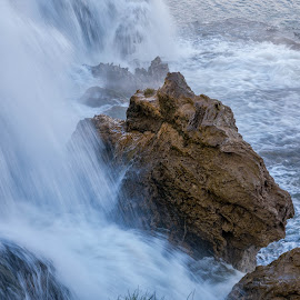 Showered Rock by Chad Roberts - Nature Up Close Rock & Stone ( water, cold, snake river, waterfall, shower, rock, river )